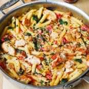 Chicken & Bacon Pasta with Spinach & Tomatoes in Garlic Cream Sauce