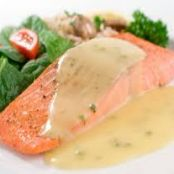 Plank-Grilled Salmon with Beurre Blanc