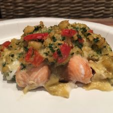 Stuffed Salmon with Cream Cheese & Shrimp