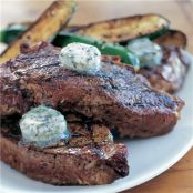 Grilled Garlic-studded NY Steaks