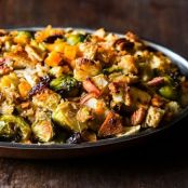 Butternut Squash, Brussels Sprout, & Bread Stuffing with Apples