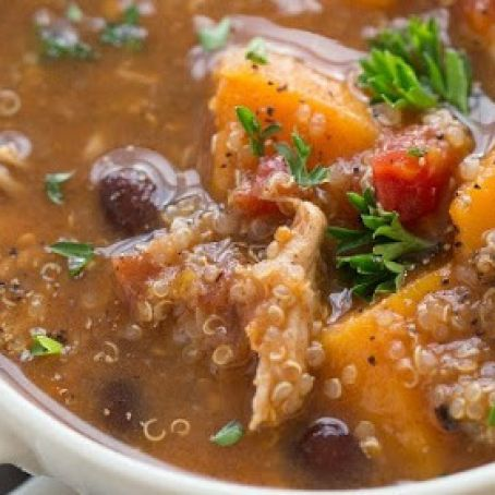 Butternut squash and quinoa soup with olives