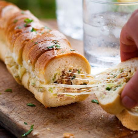 Cheesy Jalapeno Bacon Stuffed Baguette with Garlic Butter