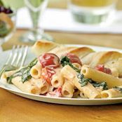 Penne with Spinach, Cherry Tomatoes, and Gorgonzola Sauce