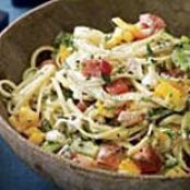 Herb Butter-and-Goat Cheese Linguine with Fresh Tomatoes