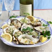 Grilled Oysters with Garlic Lemon Butter