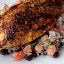 Chili Rubbed Chicken with Black Bean Salsa and Rice