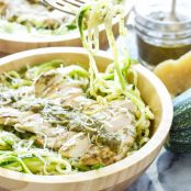 Zucchini Noodles with Pesto, Chicken & Chickpeas