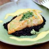 Seared Wasabi-Glazed Salmon with Forbidden Rice