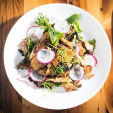 Warm Mushroom Salad With Bacon, Sourdough Croutons & Pickled-Mushroom Vinaigrette