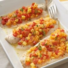 Tilapia Baked  with Spicy Tomato-Pineapple Relish