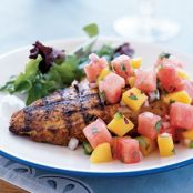 Marinated Grilled Chicken Breast with Watermelon Jalapeno Salsa
