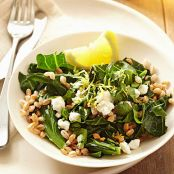 Collard Greens with Lemon, Farro & Feta