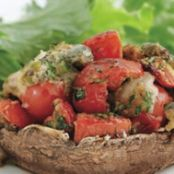 Tomato & Bocconcini-Stuffed Mushrooms with Mixed Greens