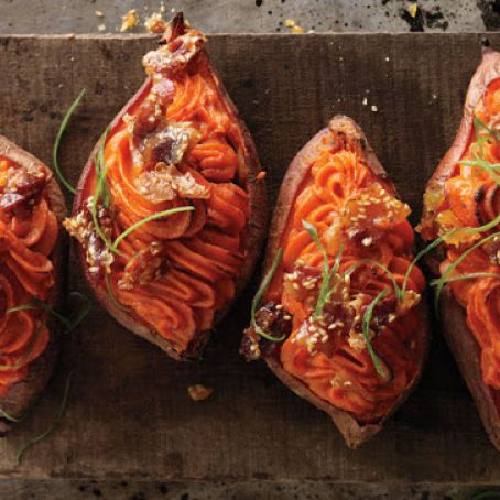 Veggies: Twice-Baked Sweet Potatoes with Bacon-Sesame Brittle