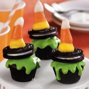 Mini Melted Wicked Witch Cupcakes