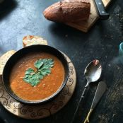 Garden Tomato soup with Cashew Walnut cream