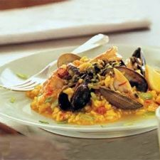 Mussels, Clams and Shrimp with Saffron Risotto