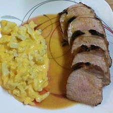 Grilled Pork Tenderloin with Guava Glaze and Orange-Habanero Mojo- by Bobby Flay