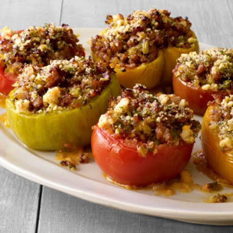 Sausage and Basil Stuffed Tomatoes