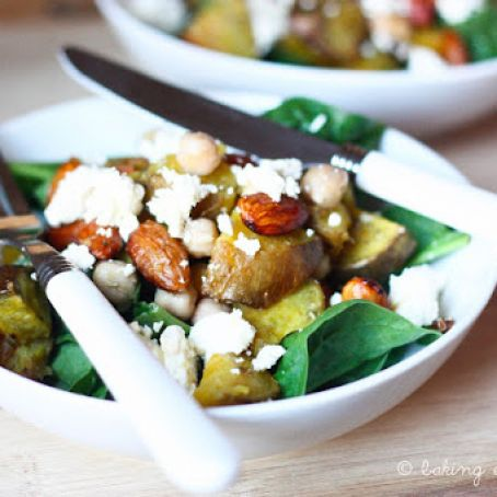 Roasted Kumara and Almond Salad with Feta and Chickpeas