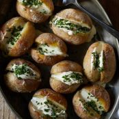 Salt-Roasted German Butterball Potatoes With Mascarpone & Chives