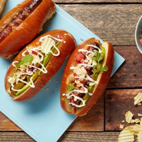 Sonoran Hotdogs with Bacon, Pico de Gallo & Avocado