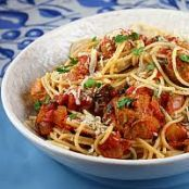 Spaghetti w/Turkey Meatballs in Spicy Tomato Sauce