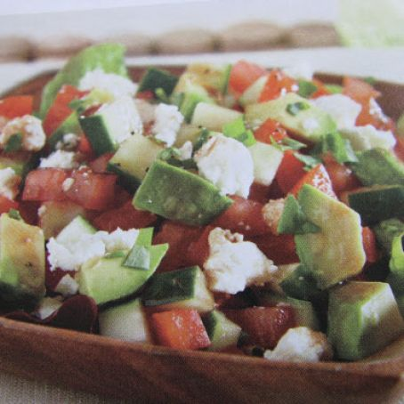 Tomato, Avocado and Cucumber Salad/Dip with Feta Cheese