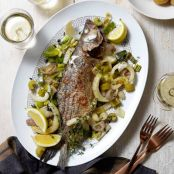 Oven-Roasted Sea Bass With Fennel & Leeks