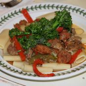 Sausage, Peppers and Broccolini over RIgatoni with Peaches and Blueberries