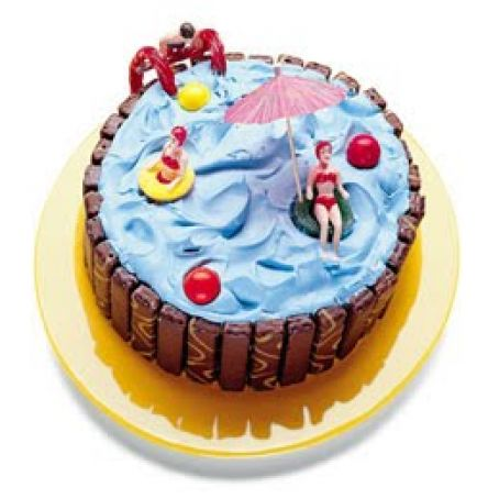 Enjoyable Pool Party Ice Cream Cake Recipe 3 5 5 Funny Birthday Cards Online Alyptdamsfinfo
