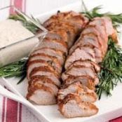 Molasses Herbed Pork Tenderloin with Horseradish Cream Sauce