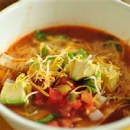 CHICKEN TORTILLA SOUP WITH CORN & AVOCADO