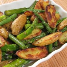 Roasted Fingerling Potatoes with Asparagus & Green Beans