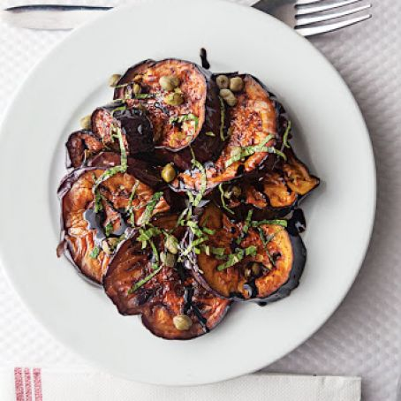 Pan-Fried Eggplant with Balsamic, Basil, & Capers