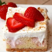 Strawberry Cheesecake Poke Cake