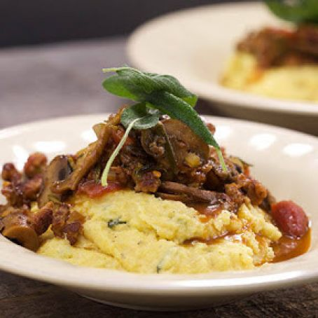 Brown-Butter Polenta with Sausage and Mushroom Ragu