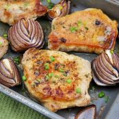 Pork Chops with Chive Butter and Balsamic Roasted Onions
