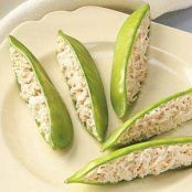 CRAB AND CREAM CHEESE STUFFED SNOW PEAS