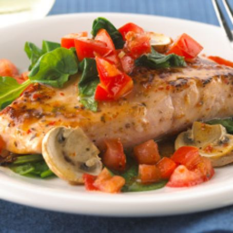 Baked Salmon with Tomatoes, Spinach & Mushrooms