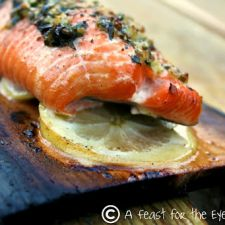 Planked Grilled Salmon with Tarragon Herbs