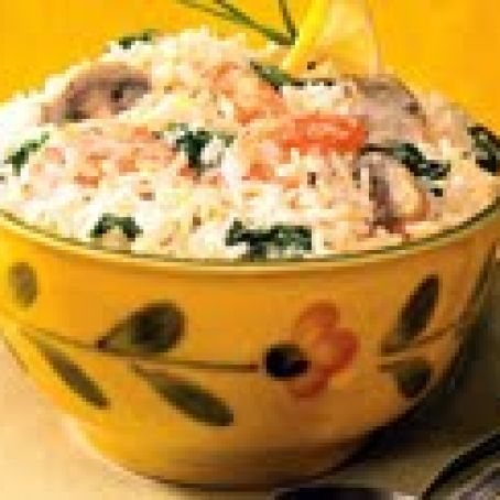 Creamy Lemon, Mushroom, Shrimp and Rice
