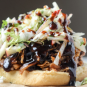 Pomegranate BBQ Chicken Sandwich w/Crunchy Apple Slaw