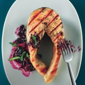 Roast Salmon with Warm Blueberry Vinaigrette