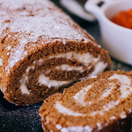 Pumpkin Cake Roll with Bourbon Cream Cheese Frosting