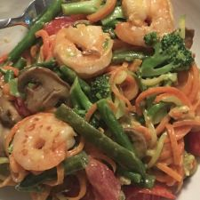 Shrimp Primavera with Carrot & Zucchini Noodles