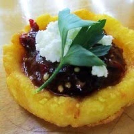 Crispy Potato Sopes (Masa Boats) with Salsa, Goat Cheese, and Herbs Recipe