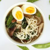 Sesame Ginger Daikon Noodle Soup with Bok Choy, Snow Peas and Shiitake Mushrooms