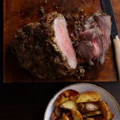 Horseradish-Crusted Beef with Roasted Potatoes and Shallots